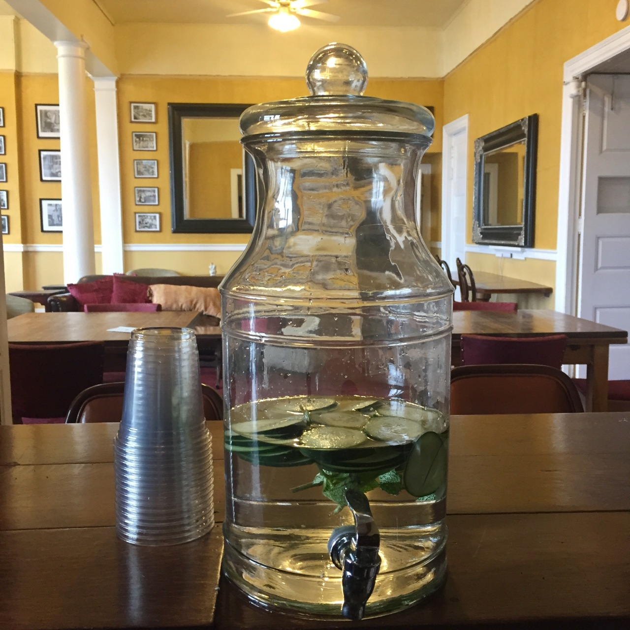 Infused Water Served at Union Club Tacoma Coworking Cucumbers and Mint