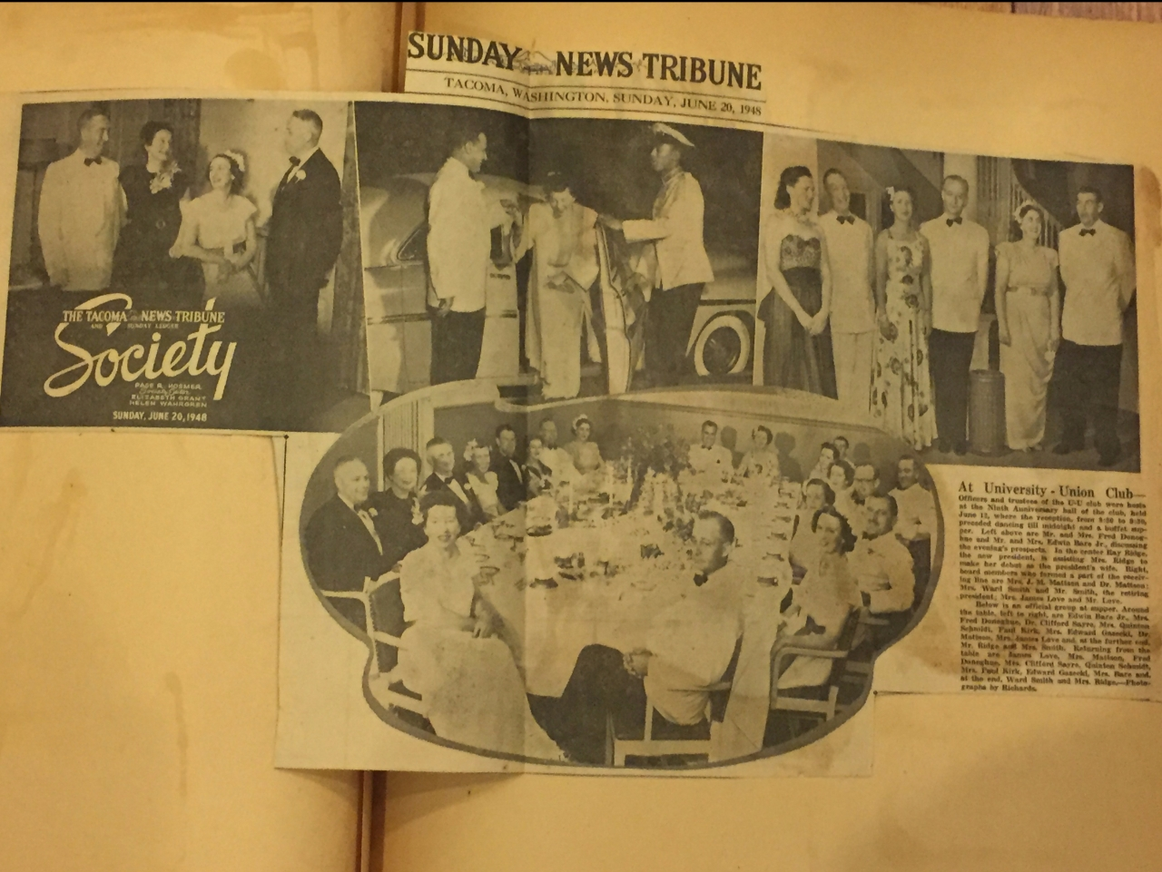 It happened in June at the Union Club Anniversary Ball News Tribune 1948